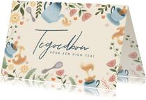 Moederdag kaart tegoedbon high tea met bloemen en thee