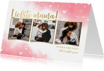 Moederdagkaart 'liefste mama!' fotocollage met hartjes