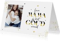 Moederdagkaart mama jij bent goud waard hartjes foto