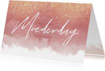 Moederdagkaart met waterverf, gouden spetters en typografie