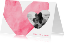 Moederdagkaart roze hart met foto in hartje