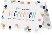 Moederdagkaart tegoedbon confetti goud high tea