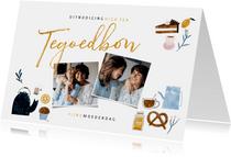 Moederdagkaart tegoedbon High Tea met foto's en illustraties