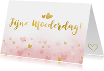 Moederdagkaart waterverf met roze en gouden hartjes