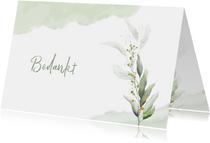 Mooie bedankkaart met takjes en blaadjes in waterverf