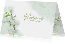 Mooie bedankkaart met witte bloemen op waterverf