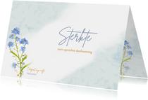 Mooie condoleancekaart met bloemen Vergeet mij nietjes