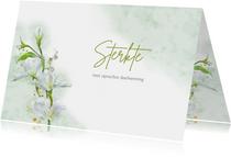 Mooie condoleancekaart met witte bloemen op waterverf