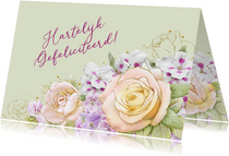 Mooie verjaardagskaart met bloemen zoals rozen op waterverf