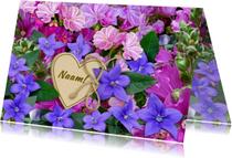 Mooie  verjaardagskaart roze en blauwe bloemetjes
