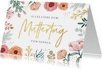 Muttertagskarte Blumen & Goldschrift