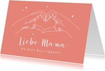 Muttertagskarte Herz aus Händen