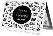 Muttertagskarte High tea Einladung schwarz weiß