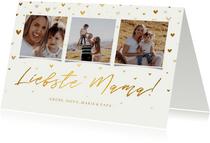 Muttertagskarte 'Liebste Mama!' drei Fotos und Herzen