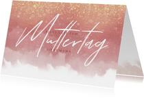 Muttertagskarte rosa Aquarelllook mit Foto innen