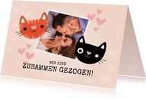 Neue Adresse Karte zusammenziehen Katzen