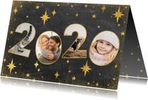 Neujahrskarte 2020 Fotocollage mit Sternen