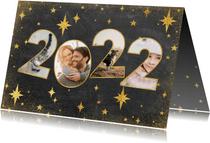 Neujahrskarte 2022 Fotocollage mit Sternen