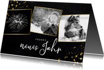 Neujahrskarte drei Fotos und Konfetti