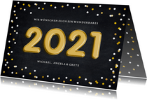 Neujahrskarte Folienballons gold