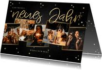 Neujahrskarte Fotocollage Sterne & Goldlook