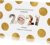 Neujahrskarte Fotos in Jahreszahl goldene Punkte