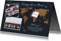 Neujahrskarte geschäftlich Pinnwand mit Fotos