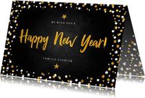 Neujahrskarte Happy New Year Konfetti Rahmen