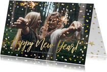 Neujahrskarte Konfetti Rahmen, Foto und Happy New Year