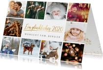 Neujahrskarte mit eigenen Fotos und Schriftzug in Goldlook