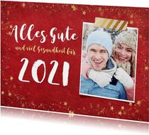 Neujahrskarte mit Foto und Sternrahmen