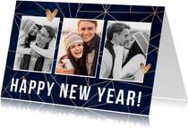 Neujahrskarte stilvoll geometrisch mit Fotos