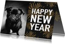 Neujahrskarte Typografie, Foto und Feuerwerk