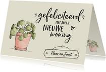 Nieuwe woning - gefeliciteerd illustratie pannenkoekplant