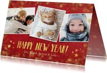 Nieuwjaars fotocollage kaart met rood en goud