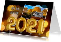 Nieuwjaars verhuiskaart ballonnen goud 2021