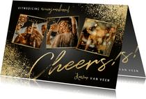 Nieuwjaarsborrel uitnodiging fotocollage, cheers en spetters