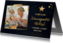 Nieuwjaarsborrel uitnodiging met foto - zwart en goud