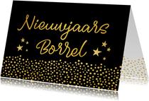 Nieuwjaarsborrel uitnodigingskaart zwart met goud