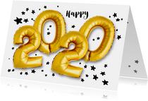 Nieuwjaarskaarten - Nieuwjaarskaart 2020 ballonnen goud met sterren