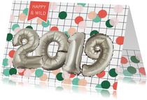 Nieuwjaarskaart 2019 zilver look cijfers ballon