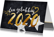 Nieuwjaarskaart 2020 goud en zwart