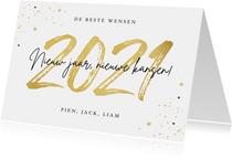 Nieuwjaarskaart 2021 goud confetti sterren nieuw jaar