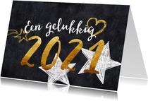 Nieuwjaarskaart 2021 goud en zwart