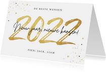 Nieuwjaarskaart 2022 goud confetti sterren nieuw jaar
