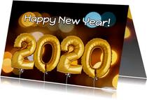 Nieuwjaarskaart ballonnen goud