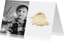Nieuwjaarskaart 'Best Wishes' goudlook met foto