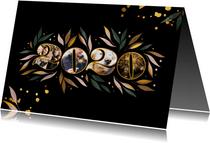 Nieuwjaarskaart botanisch '2020' fotocollage