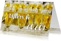 Nieuwjaarskaart Champagne Cheers to 2020