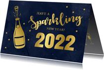 Nieuwjaarskaart champagne fles typografie goudlook